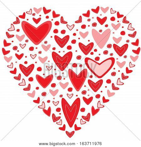 Love concept of lots of hearts in the shape of a heart on white background