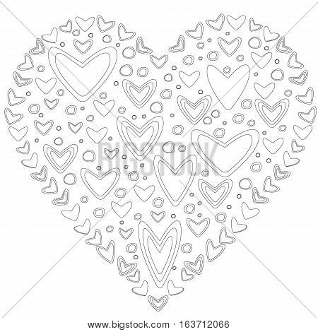 Love concept of lots of hearts in the shape of a heart on white background. Adult antistress coloring page. Black and white illustration for coloring book