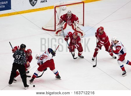Y. Korshkov (96) And A. Nikulin (36) On Faceoff