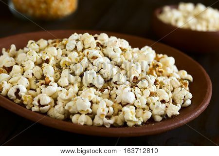 Homemade fresh savory popcorn with cheese garlic and dried oregano on rustic plate photographed with natural light (Selective Focus Focus in the middle of the image)