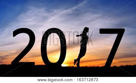 silhouette of a girl running, step forward silhouette of a girl making a step before, 2017 years while celebrating new EAP, 2017, happy girl.