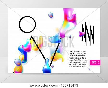 abstract bright colorful plasma drops shapes pattern and black geometry lines on white background for banner, card, poster, web design, vector illustration collection eps10