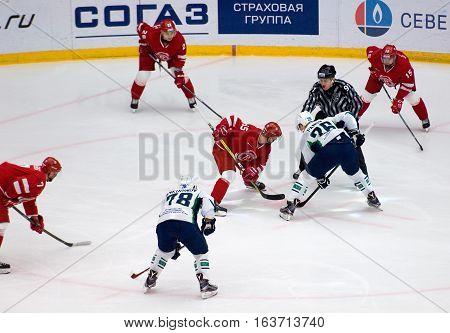 K. Panov (26) And M. Aaltonen (55) On Faceoff
