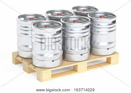 Beer kegs on pallet 3D rendering isolated on white background