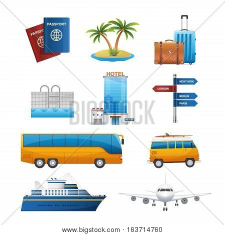 Realistic travel tourism icons set vector. transportation icons