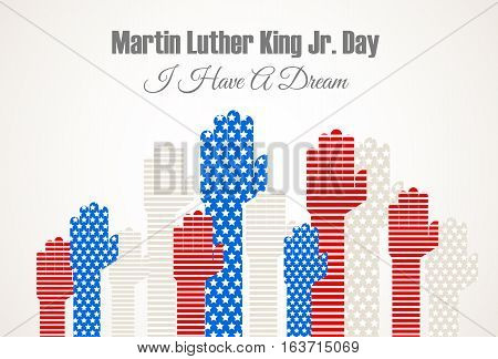 Martin Luter King Jr. Day vector illustration with hands