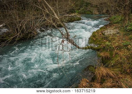 Scenic Mountain Autumn Landscape With River And   Watergfalls, Peloponnese, Greece
