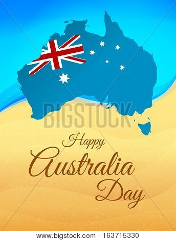 Happy Australia day concept. Continent map in flag color style on beach background. Vector illustration