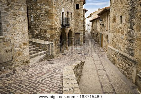 a street in Culla town, Alto Maestrazgo Province of Castellón, Spain