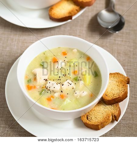 Chicken and potato chowder soup with green bell pepper and carrot in bowl with toasted bread slices on the side photographed with natural light (Selective Focus Focus in the middle of the soup)