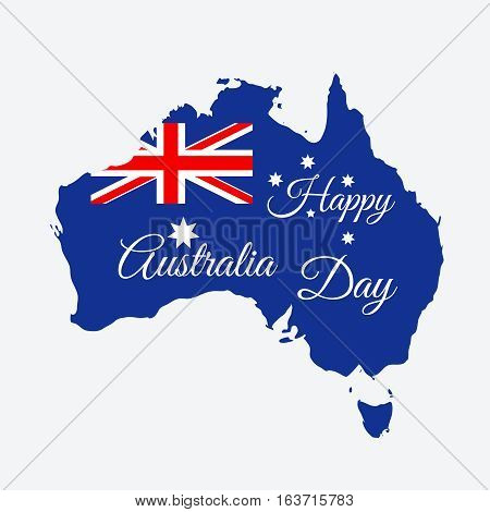 Happy Australia day concept. Continent map in flag color style. Vector illustration