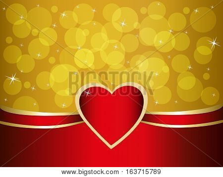 Red heart and a side, a romantic background for a card