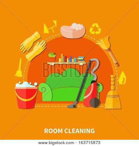 Colorful background with living room furniture and cleaning tools flat decorative icons and silhouette signs composition vector illustration
