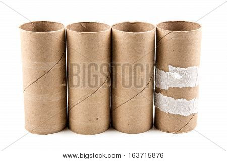 Several Empty Toilet Paper Rolls Isolated On A White Background