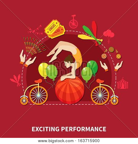 Exciting perfomance concept with acrobat and circus artist vector illustration
