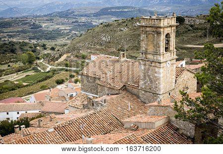 a view of El Salvador parish church in Culla town, Alto Maestrazgo Province of Castellón, Spain