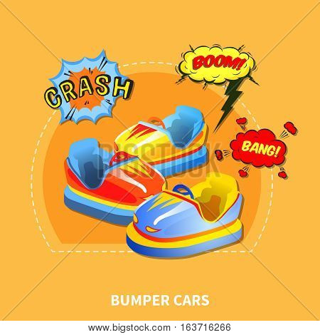 Bumper cars presentation layout with design abstract isolated vector illustration