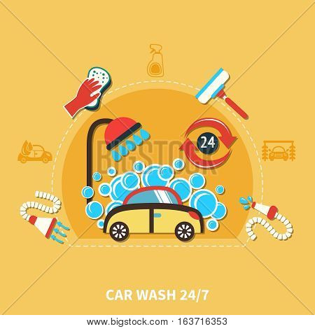 Car wash round composition with doodle car in soap bubbles machinery shower hose and cleaning agents vector illustration