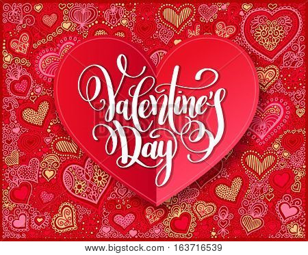 Valentines day calligraphy design on red paper hand drawing heart shape background, vector illustration
