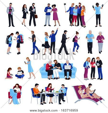 Design collection of people looking in gadgets screen in cafe and office on street and beach flat isolated vector illustration