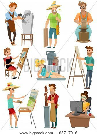 Artist cartoon set with poeple and painting isolated vector illustration