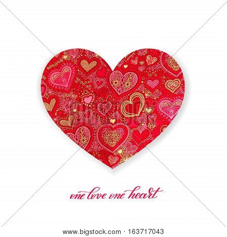 one love one heart calligraphy design with red paper heart shape hand drawing background to valentines day, vector illustration