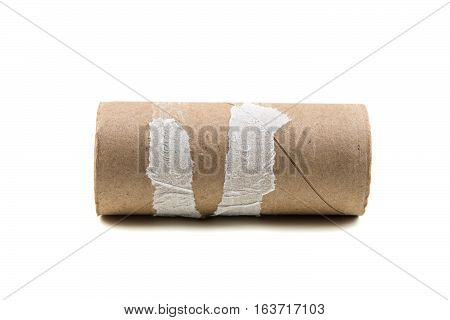Single Empty Toilet Paper Roll Isolated On A White Background