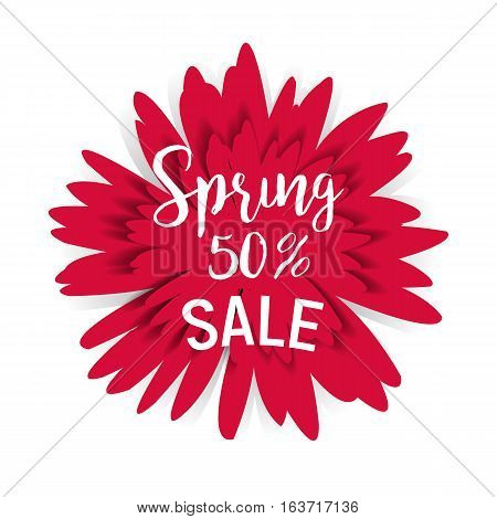 Spring sale 50 with red flower and shadow