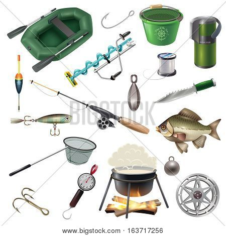 Fishing isolated images set with fish-tackles sea-line inflatable boat and hooks of different shape vector illustration