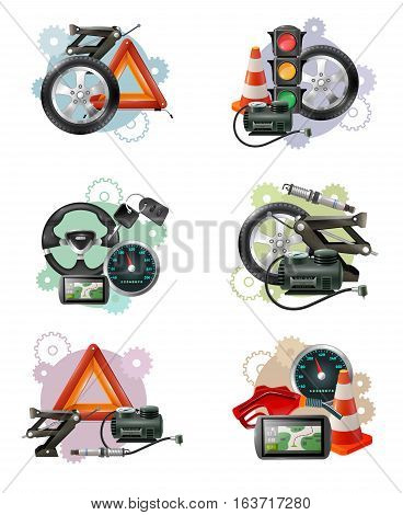 Car repair and maintenance symbol compositions set with wheels hand screws levelling jacks traffic lights barriers vector illustration