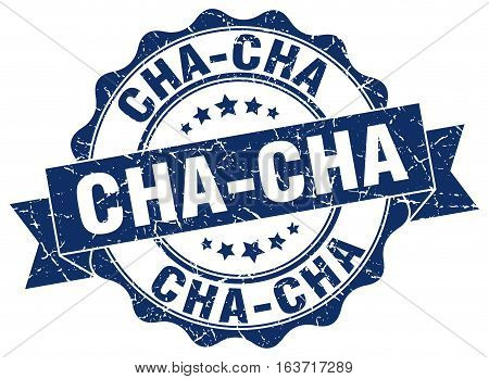 cha-cha. stamp. sign. seal. round. retro. ribbon