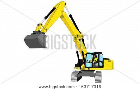 yellow Chain Dredger Illustration isolated on white
