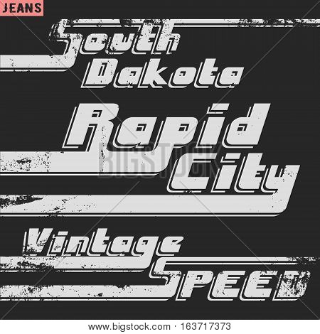 T-shirt print design. Rapid city vintage stamp. Printing and badge applique label t-shirts jeans casual wear. Vector illustration.