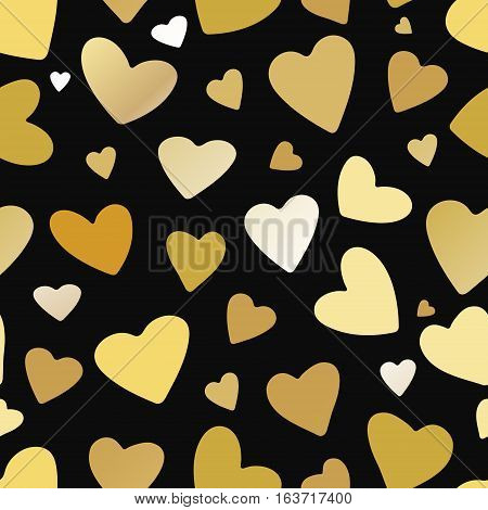 Gold hearts seamless pattern on black background. Design for greeting card Valentines day brochure or flyer . Vector illustration.