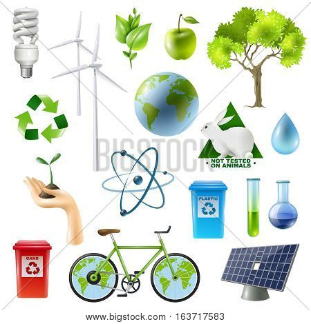Ecology isolated symbols set with alternative energy sources plants tubes bicycle images molecule and recycle signs vector illustration