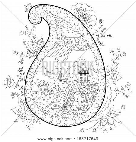 Beautiful village in paisley frame with floral design. Coloring book anti stress for adults. Vector illustration. Black and white in zentangle style.