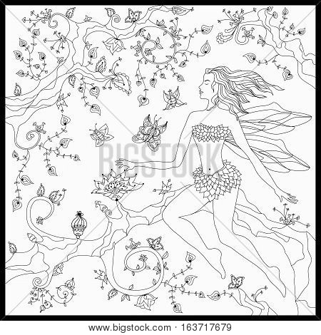 Beautiful fairy sitting on the magic tree. Coloring book anti stress for adults. Vector illustration. Black and white in zentangle style.