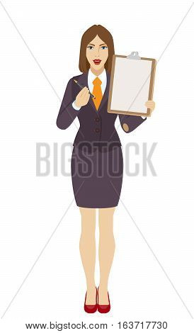 Businesswomen giving pen for your signature on clipboard. Businesswomen offers to sign a document holding clipboard. Full length portrait of businesswoman in a flat style. Vector illustration.