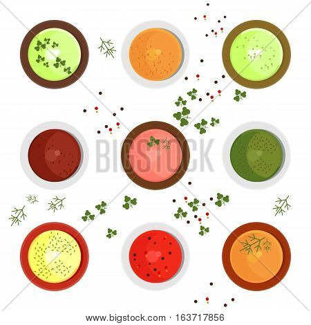 Set of bright colored sauces. Mustard and horseradish mayonnaise and adjika salsa and guacamole with herbs and spices. Flat vector cartoon illustration. Objects isolated on a white background.
