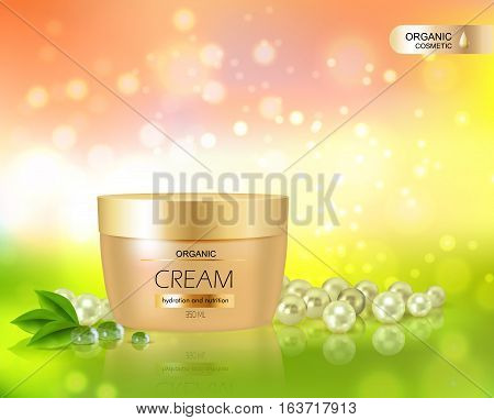 Beautiful background in realistic style for organic cosmetic series with cream container and scattered pearls vector illustration