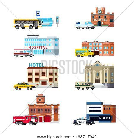 Orthogonal set of city services and buildings including transportation post office police and hospital isolated vector illustration