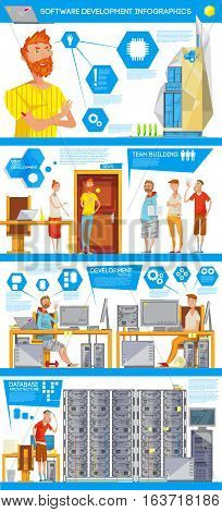 Infographic poster with soft engineer flat characters office illustrations team building with memory and maintenance signs vector illustration
