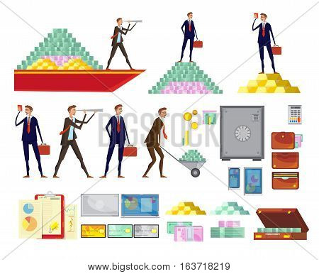 Set of isolated financial wealth cartoon images of clerk characters cash pyramids safe boxes and suitcases vector illustration