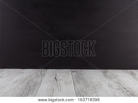White Rustic Wooden Table With Black Background