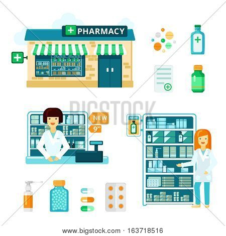 Colored and isolated pharmacy icon set with drugstore facade showcase with medications and pharmacist vector illustration