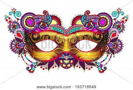 3d gold venetian carnival mask silhouette with ornamental floral feather isolated on white background, vector illustration