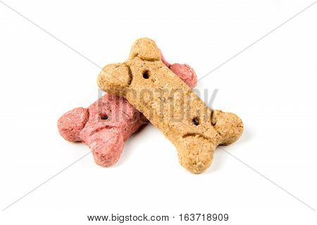 Two Dog Biscuits Isolated On A White Background