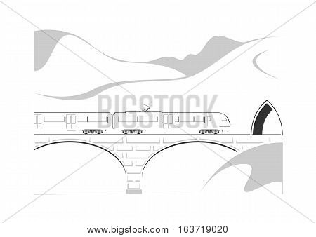High speed train bridge and mountains. Vector illustration.