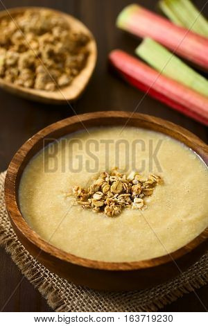Fresh homemade sweet rhubarb mousse dessert with crunchy granola on top served in wooden bowl photographed with natural light (Selective Focus Focus in the middle of the dessert)