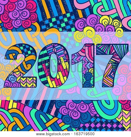 New Year 2017 Zentangle Holiday Background Colorful 2